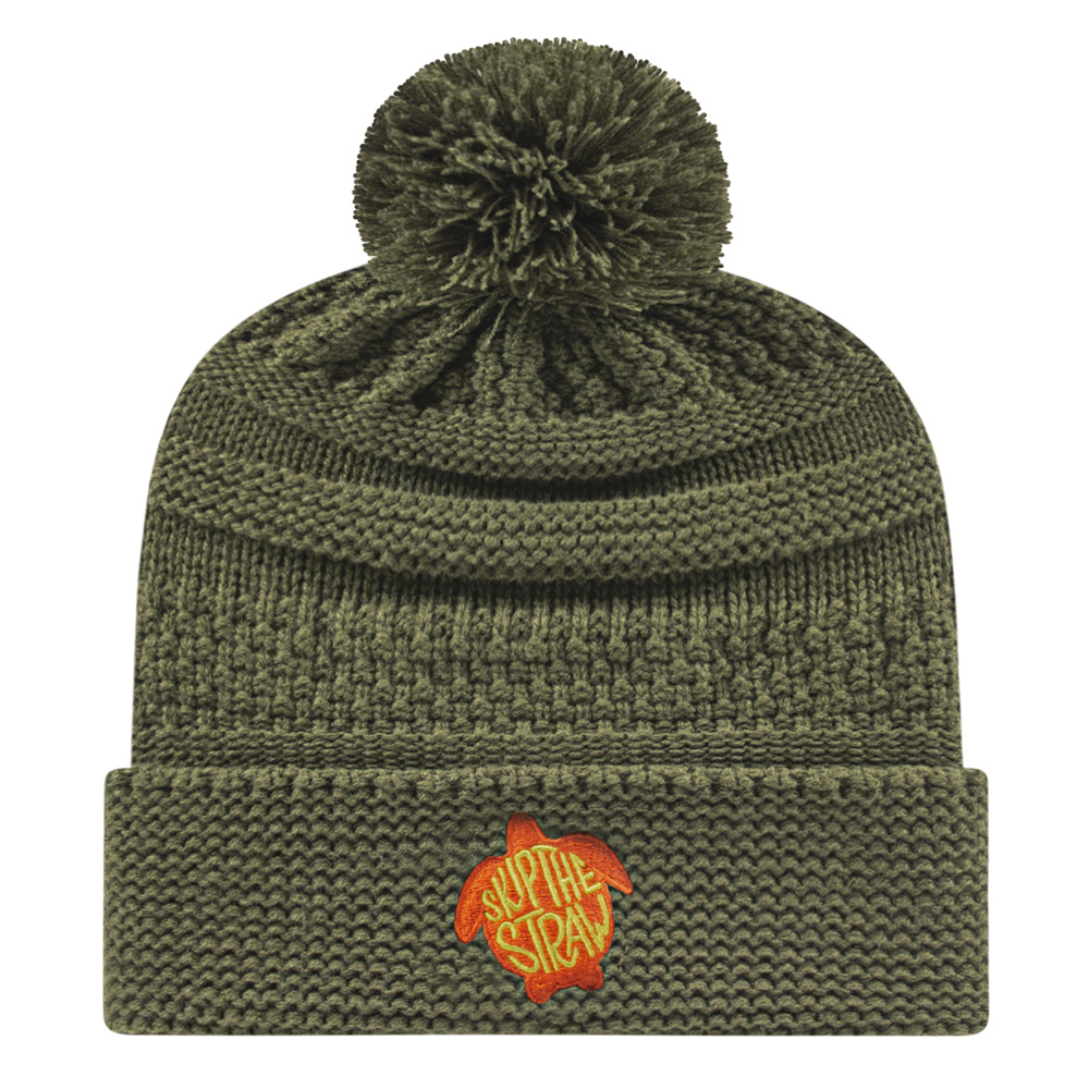 Cable Knit Cap with Pom